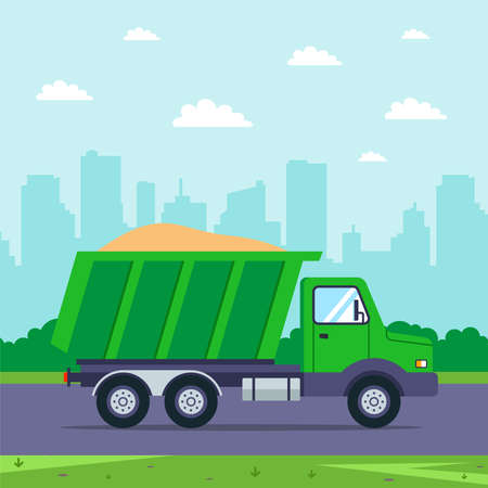 a truck with sand drives on the road against the background of the city. transportation of goods. Construction Materials. flat vector illustration. Ilustrace