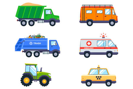 set with public transport. taxi, garbage truck, ambulance, tractor and van on a white background. flat vector illustration.