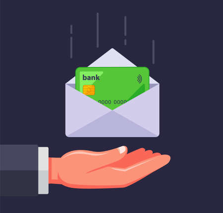 bank card in an envelope. receive a credit card by mail. flat vector illustration. Ilustrace