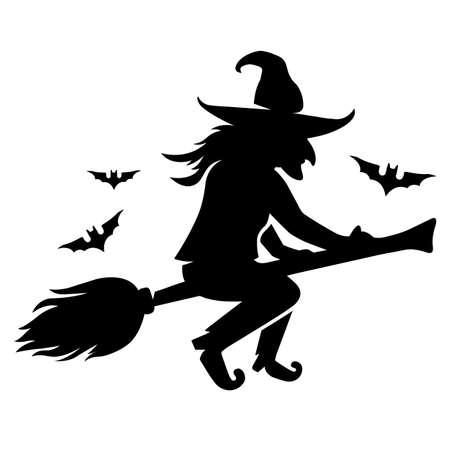 an evil witch flies on a broomstick with bats. flat vector silhouette on white background.