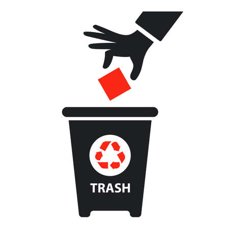 hand throws trash into container. flat vector icon isolated on white background. Ilustracja