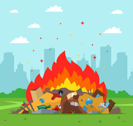 garbage dump is burning on the background of the city. improper waste disposal. flat vector illustration.