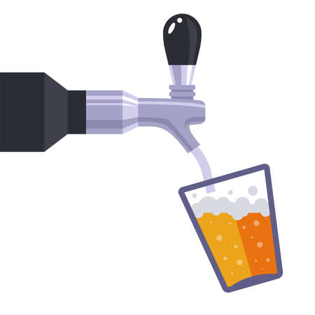 iron faucet pours beer drink into a glass. flat vector illustration isolated on white background.