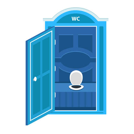 blue portable dry closet cubicle. flat vector illustration isolated on white background.