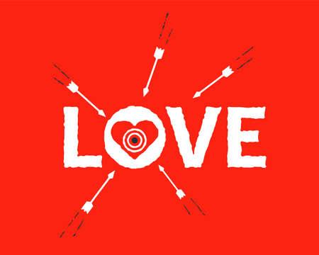shoot arrows at the heart-shaped target. flat vector illustration. Vektorgrafik