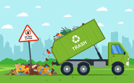 it is illegal to throw city waste into the field. dump truck unloads waste. flat vector illustration.