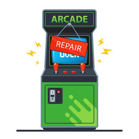 broken retro arcade machine. flat vector illustration isolated on white background.
