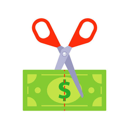 cut the green bill with scissors. flat vector illustration isolated on white background.