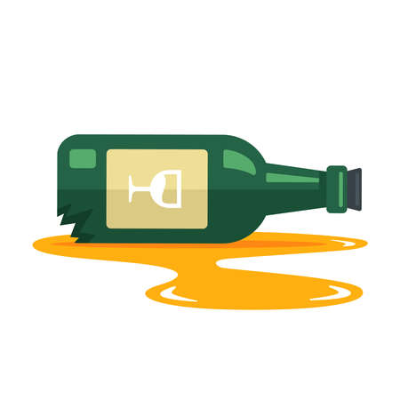a bottle of wine fell and broke. puddle of alcohol from a bottle. flat vector illustration isolated on white background.