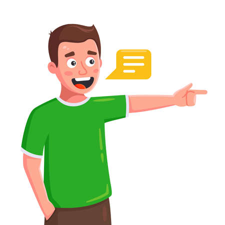 the young man speaks and shows the direction with his finger. flat character vector illustration isolated on white background. Illustration