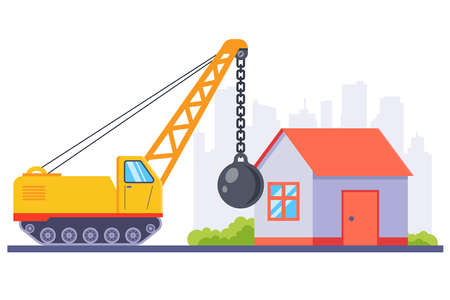 yellow construction machinery demolishes an old house with a large metal ball. flat vector illustration. Vettoriali