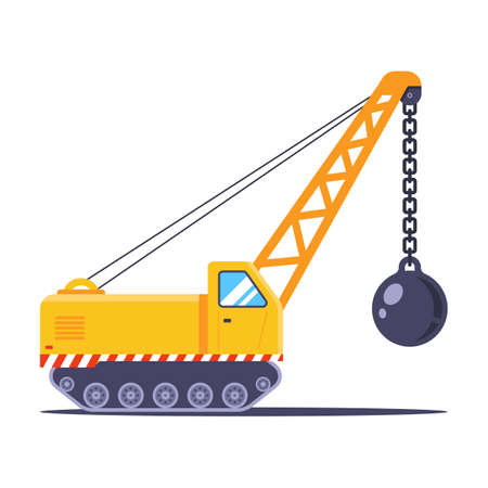 yellow construction vehicle for the demolition of the building. flat vector illustration.