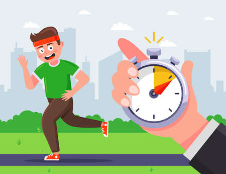 the trainer marks the time during which the male athlete ran. flat vector character illustration.