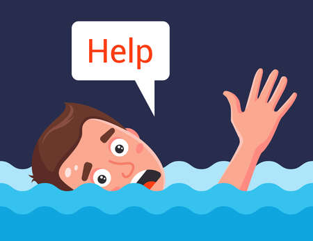 a man drowns in water and asks for help. flat vector character illustration.