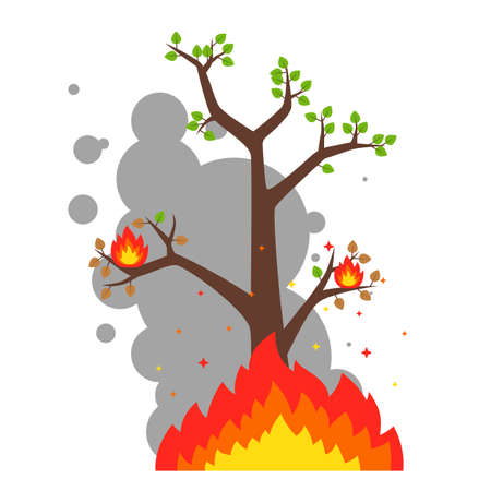 lonely burning tree on a white background. destruction of the forest by fire. flat vector illustration.