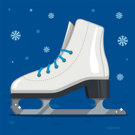 white ice skates for figure skating in winter. outdoor skating rink. flat vector illustration. 向量圖像