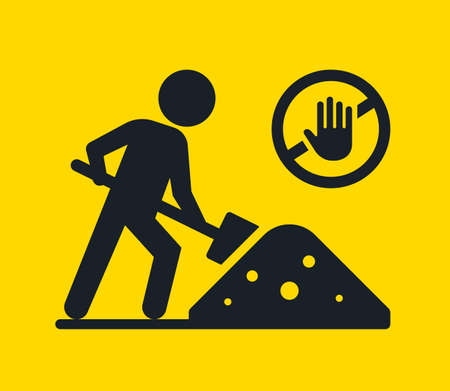 road symbol earthworks are being carried out. digging ground icon. flat vector illustration. 向量圖像