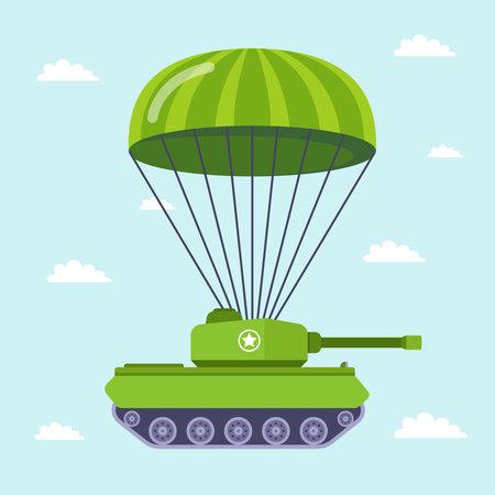 tank flies by parachute on the battlefield. flat vector illustration.