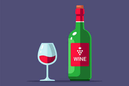 bottle of red wine with a filled glass. flat vector illustration.