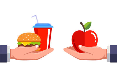 you need to decide either fast food or healthy food. food on the human. flat vector illustration.
