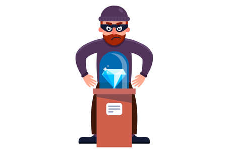 a robber steals a diamond from a museum. flat character vector illustration isolated on white background.