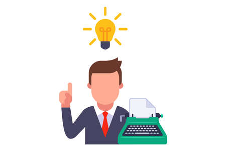 the writer came up with a brilliant idea. inspiration of a creative person. flat vector illustration isolated on white background.