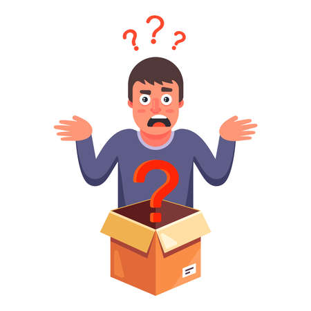 the person does not know what is inside the cardboard box. flat vector character illustration. 矢量图像