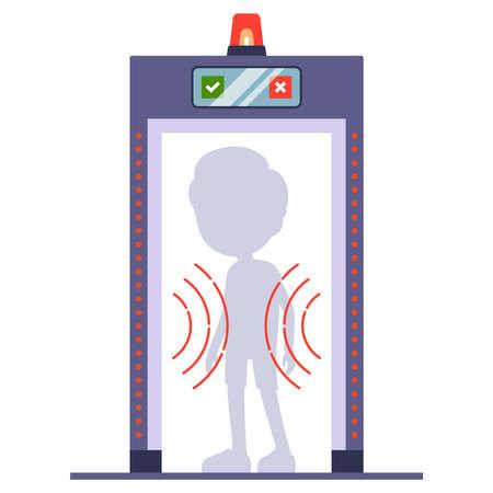man passes a metal detector at the airport. scan a person through. flat vector illustration Ilustração Vetorial