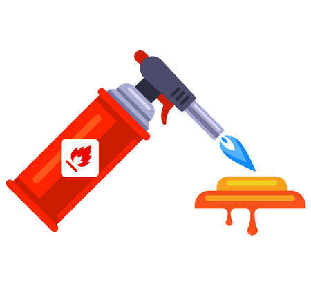 melt gold with a portable gas torch. flat vector illustration