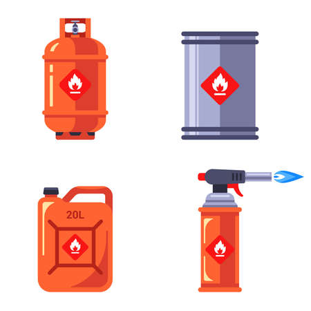 set of containers with flammable substances. storage of hazardous liquids in containers. flat vector illustration isolated on white background. Illustration