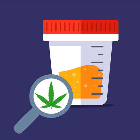 find light drugs in the urine test. get tested at the hospital for marijuana. flat vector illustration.