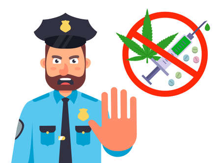 ban on drug use. the police stop for a search of drugs. flat character vector illustration isolated on white background.