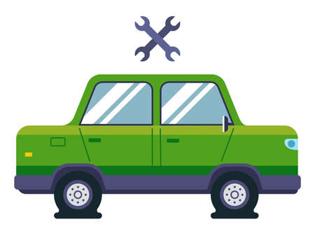 a passenger car has flat tires. need the help of an auto mechanic. flat vector illustration. Banque d'images - 164506720