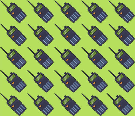 pattern portable walkie-talkie on a green background. flat vector illustration.