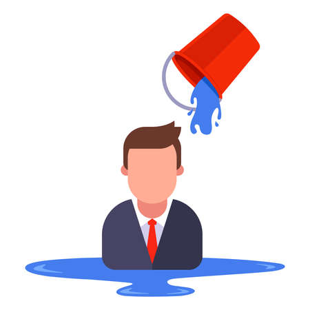 a man in a business suit is poured with water from a bucket. flat vector illustration isolated on white background. Banque d'images - 164776701