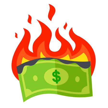 the burning dollar bill burns out. a waste of money. flat vector illustration. Imagens - 164775979