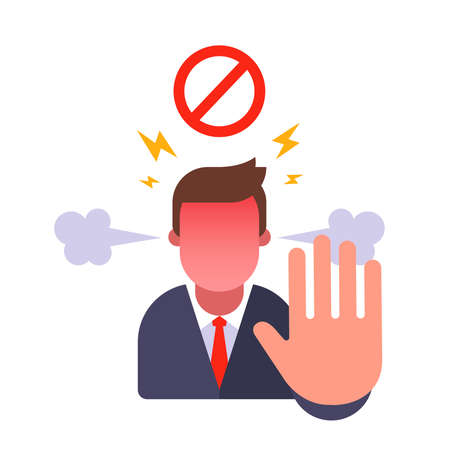 man shows stop gesture. ban for entry. angry with the person and forbid. flat vector character illustration. 版權商用圖片 - 164790557