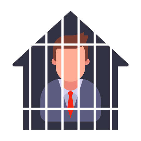 house arrest of a man in a suit. quarantine a person. flat vector illustration. Illustration