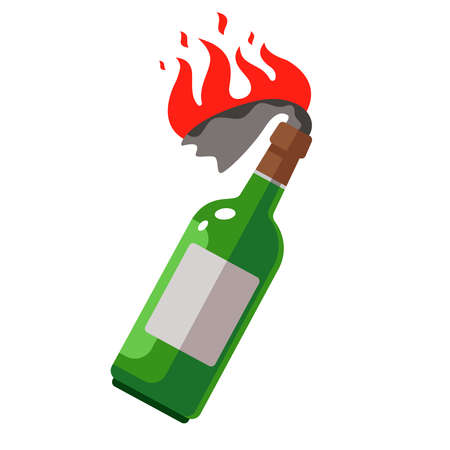 Molotov cocktail with a burning rag. weapons for protests. flat vector illustration. Illustration