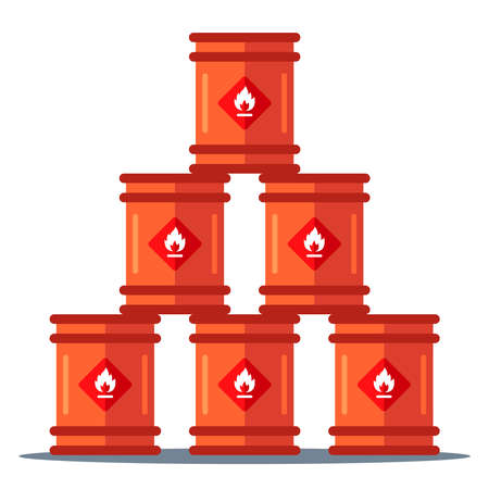 iron barrels storage pyramid. storage of flammable substances. flat vector illustration Illustration