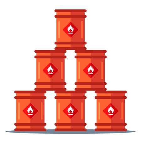 iron barrels storage pyramid. storage of flammable substances. flat vector illustration 向量圖像