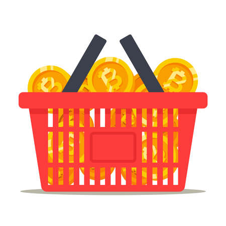 full basket of bitcoin coins. rolling of cryptocurrencies. flat vector illustration.