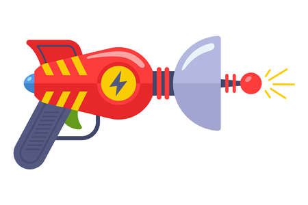 alien toy gun from the 60s. fantastic weapon. flat vector illustration.