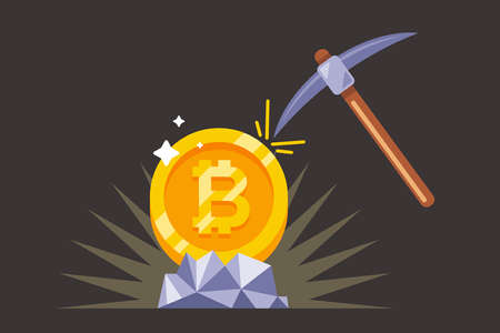 mining bitcoin with a pickaxe in the mine. flat vector illustration. Imagens - 164790562