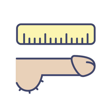 icon measuring the male genital organ with a wooden ruler. flat vector illustration
