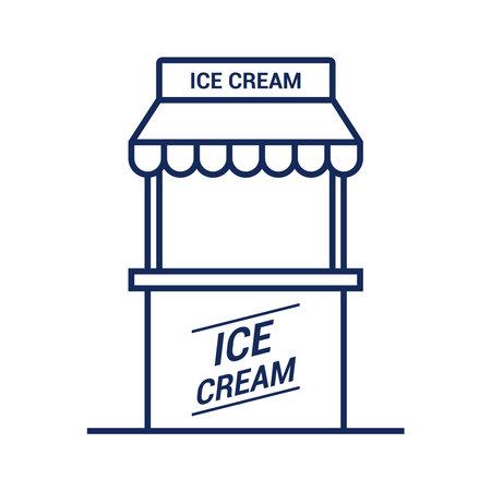 ice cream kiosk icon on white background. flat vector illustration. 向量圖像
