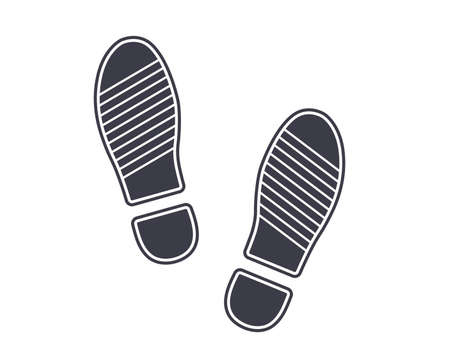 icon black footprints from shoes on the ground. flat vector illustration. Illustration