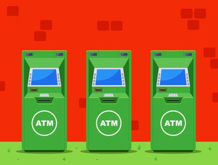 several green ATMs on the street. flat vector illustration. Banque d'images - 164897203