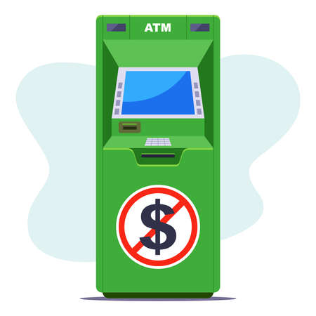green ATM where there is no cash. shortage of money at the ATM. flat vector illustration.