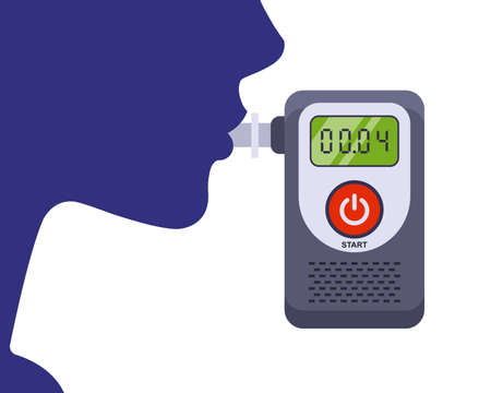Testing a person for alcohol intoxication. flat vector illustration.